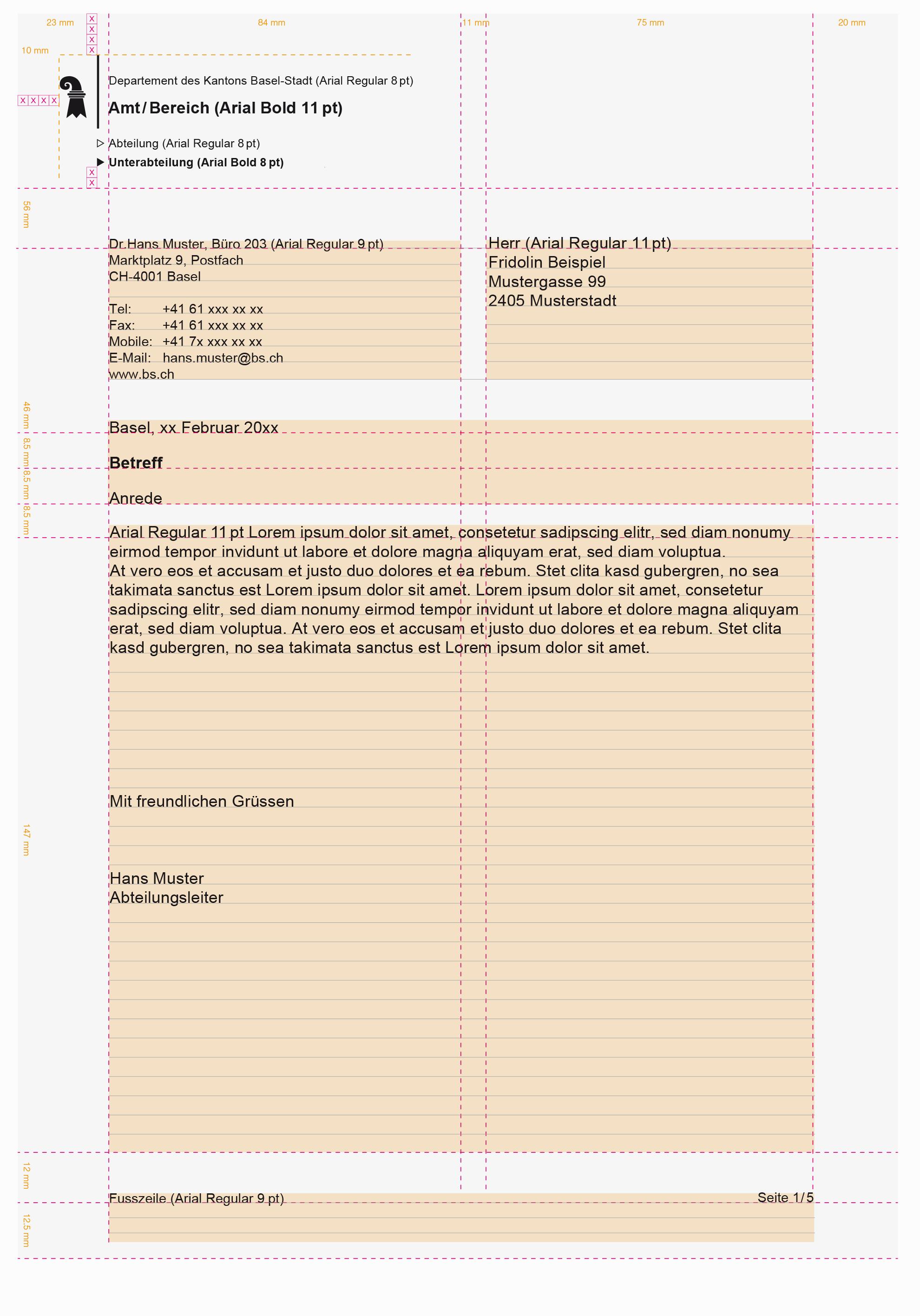 Staatskanzlei Basel-Stadt - Briefbogen mit Vermassung