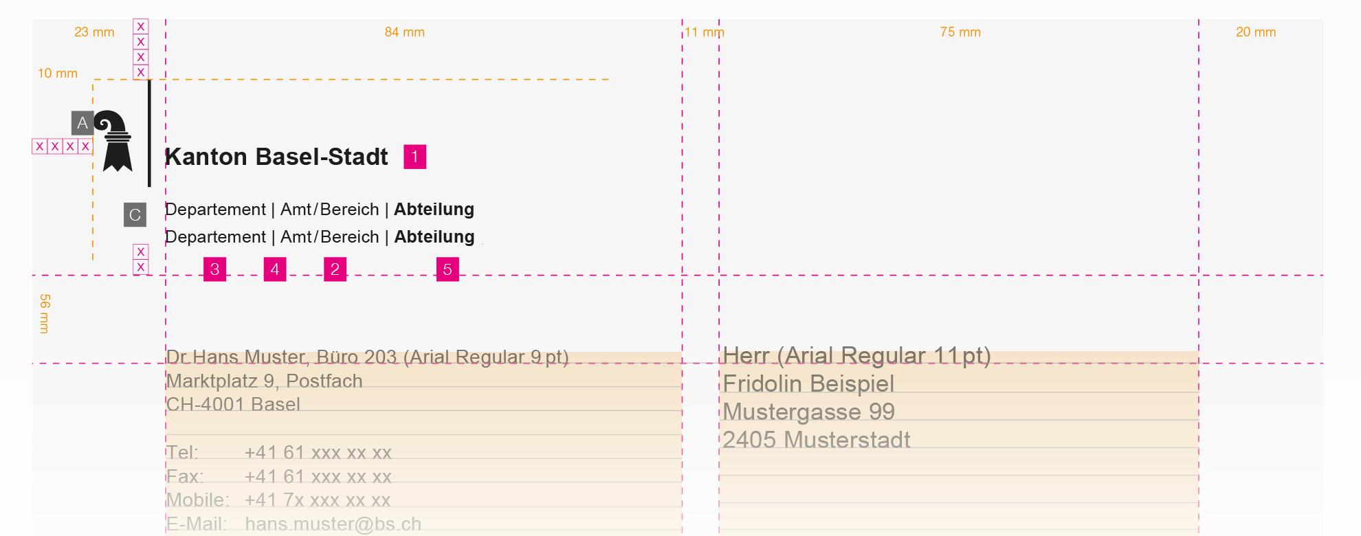 Staatskanzlei Basel-Stadt - Briefbogen mit mehreren Departementen
